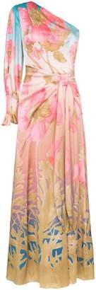 Peter Pilotto one shoulder floral print silk maxi dress