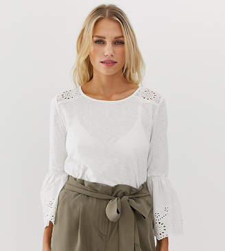 Esprit bell sleeve broderie detail top in white