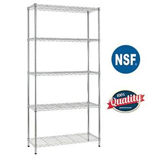 NSF Bestoffice 5 Shelf Wire Shelving Unit Garage Wire Shelf Metal Large Storage Shelves Heavy Duty Height Adjustable Commercial Grade with 1250 LBS Capacity -14x36x72 Chrome