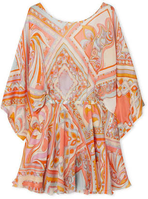 Emilio Pucci Printed Silk-chiffon Mini Dress - Peach
