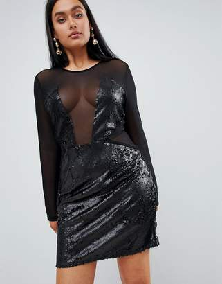 PrettyLittleThing Sequin Panelled Cut Out Dress