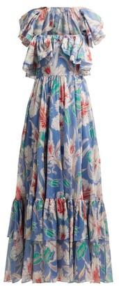 Valentino Hibiscus Print Cotton Maxi Dress - Womens - Blue Multi