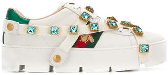 Gucci crystal embellished bee sneakers