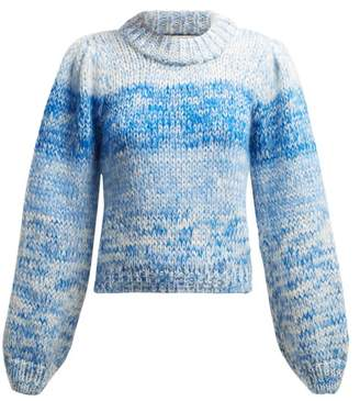 Ganni Julliard Mohair Chunky Knit Sweater - Womens - Blue