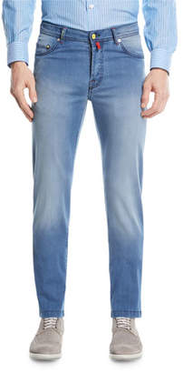 Kiton Light-Wash Denim Straight-Leg Jeans