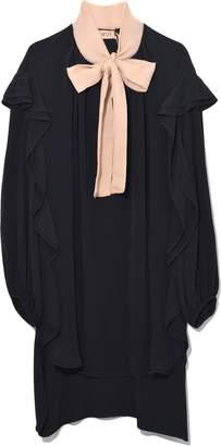 No.21 No. 21 Contrasting Tie Neck Dress in Black