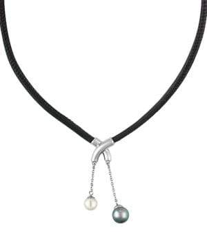 Majorica New Isla 7-9MM Pearl and Leather Necklace