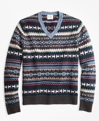 Brooks Brothers Fair Isle Wool-Blend V-Neck Sweater