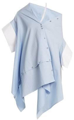 Palmer//harding - Off The Shoulder Striped Cotton Shirt - Womens - Blue White