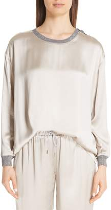 Fabiana Filippi Metallic Trim Satin Top