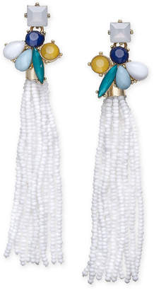 INC International Concepts I.n.c. Gold-Tone Stone & Beaded Fringe Drop Earrings, Created for Macy's