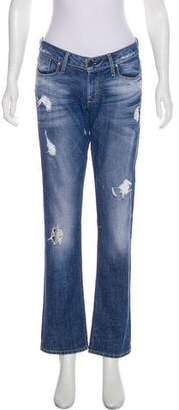 Sinclair Distressed Mid-Rise Straight-Leg Jeans