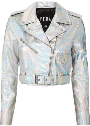 Veda Acid Mirror Cropped Moto Jacket