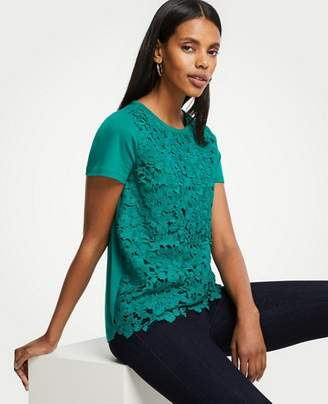 Ann Taylor Petite Floral Lace Tee