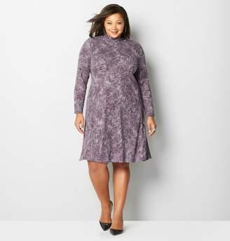 Avenue Plus Size Plum Floral Paisley A-Line Dress