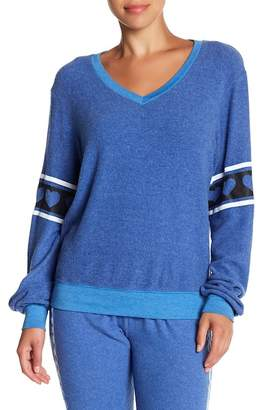 Wildfox Couture Hearts Desire Beach V-Neck Baggy Sweater