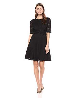 London Times Women's Elbow Sleeve Twisted Waist FIT and Flare Dress