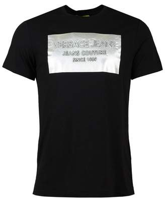 Versace Metallic Square Crew Neck T-shirt Colour: Black And Silv