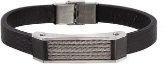 FINE JEWELRY Men's Two-Tone Stainless Steel Leather Bracelet