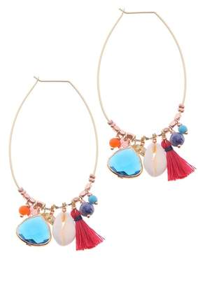 Nakamol Design Stone & Tassel Charm Earrings