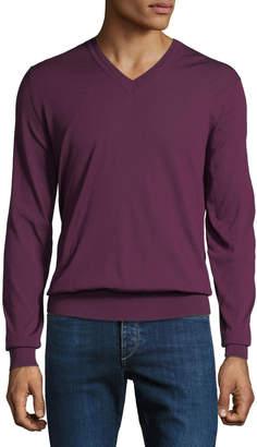 Brioni Men's Long-Sleeve V-Neck Wool Sweater
