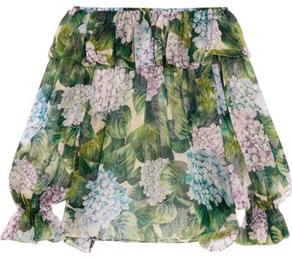 Dolce & Gabbana - Off-the-shoulder Ruffled Floral-print Silk-chiffon Top - Green $1,195 thestylecure.com