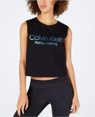 Calvin Klein Logo Cropped Tank Top
