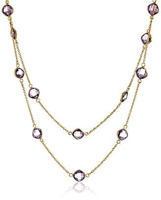Gold-Plated Sterling Silver Amethyst Bezel Stations 2 Row Nested Necklace