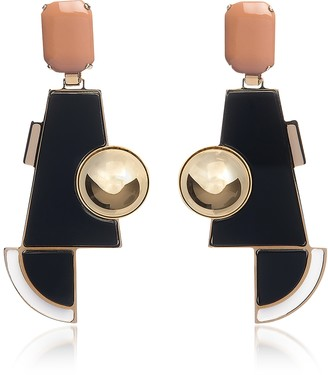 Egotique Golden Brass Geometric Drop Earrings w/Crystals