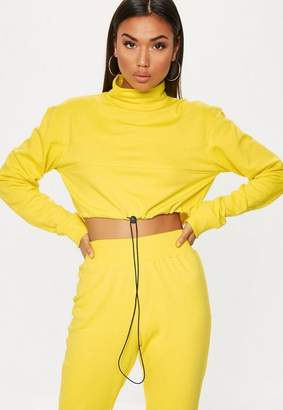Missguided High Neck Drawstring Cropped Hoodie