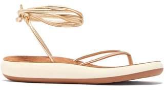 Ancient Greek Sandals Pieria Wrap Around Leather Sandals - Womens - Gold