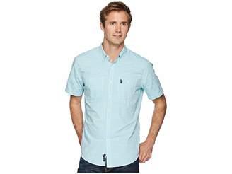 U.S. Polo Assn. Short Sleeve EOE Slub Two-Pocket Woven Shirt-ZW Men's Short Sleeve Button Up