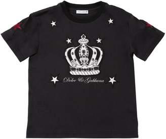Dolce & Gabbana Crown Print Cotton Jersey T-shirt