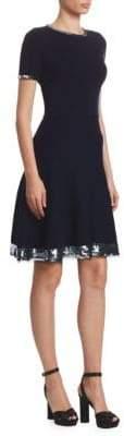 Oscar de la Renta Sequin-Hem Wool A-Line Dress