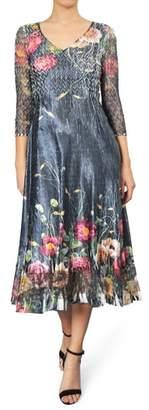 Komarov Print A-Line Midi Dress