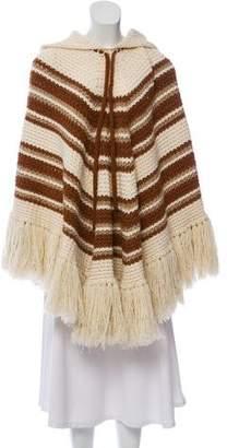 Saint Laurent Hooded Wool Poncho