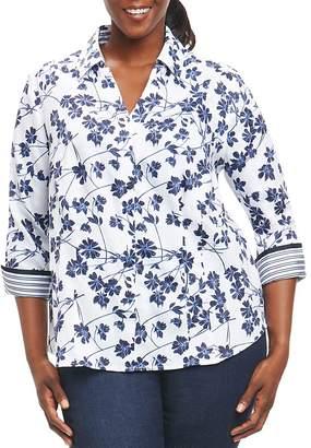 Foxcroft Plus Floral-Print Wrinkle-Free Blouse