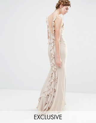 Jarlo Wedding Maxi Dress with Fishtail and Ruffles at Back $154 thestylecure.com