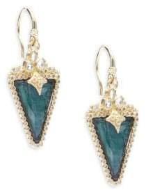 Armenta Old World Diamond, Sapphire, Malachite, Rainbow Moonstone, 18K Yellow Gold & Sterling Silver Earrings