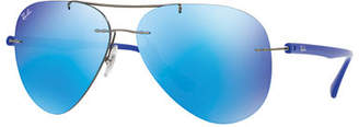Ray-Ban Mirrored Rimless Aviator Sunglasses
