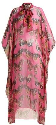 Dolce & Gabbana Butterfly Print Silk Chiffon Kaftan - Womens - Pink Multi