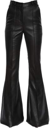 David Koma Flared Leather & Stretch Cady Pants