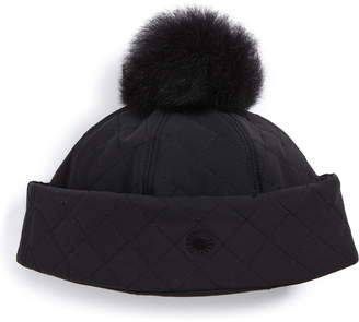 e8c461c39dc UGG Australia Water Resistant Quilted Hat with Genuine Shearling Pompom