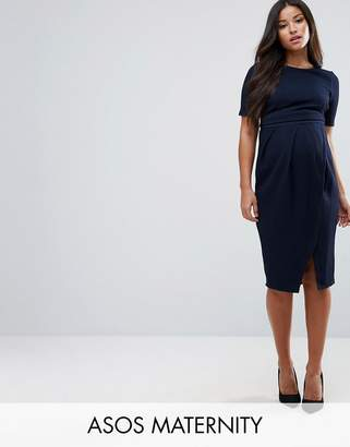 Asos DESIGN Maternity double layer textured smart dress