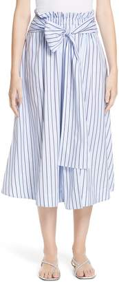 Rosetta Getty Wrap Panel Stripe Poplin Skirt