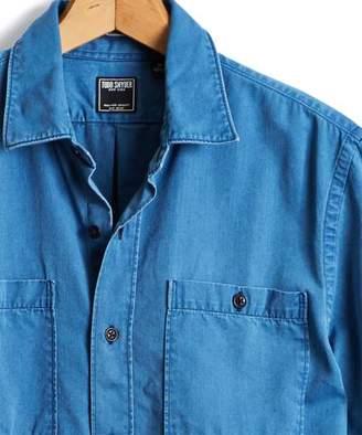 Todd Snyder Short Sleeve Indigo Guayabera Shirt in Blue