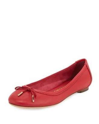Salvatore Ferragamo Enea Leather Ballerina Flat, Pamplona Red $350 thestylecure.com