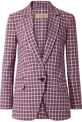 Burberry Checked Cotton-blend Blazer - Plum