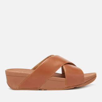 0bd37727d FitFlop Women s Lulu Leather Cross Slide Sandals