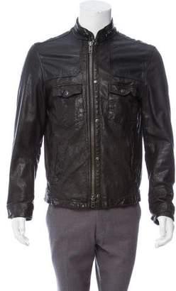 AllSaints Leather Cafe Racer Jacket